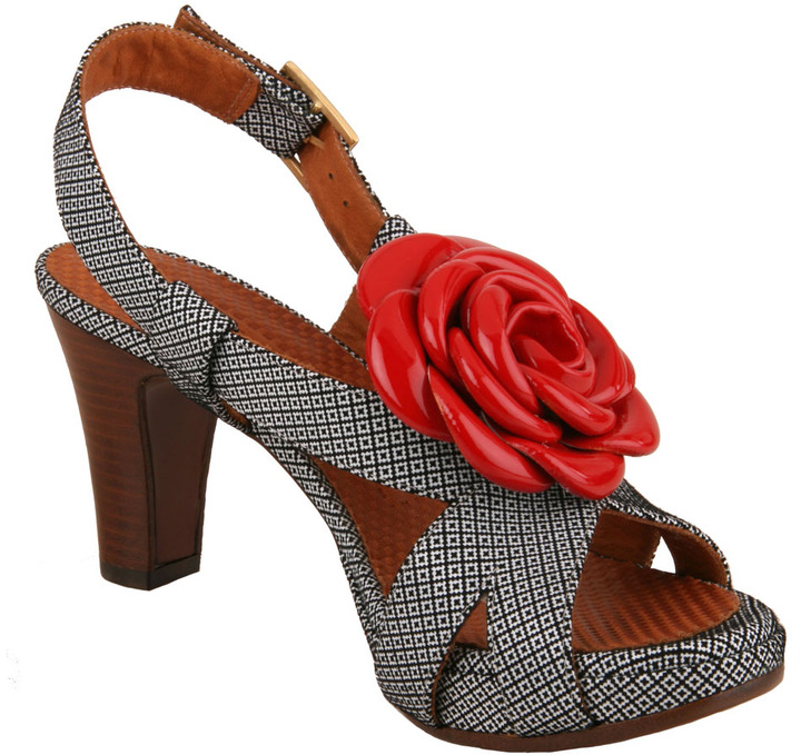 Chie Mihara Juic Textured Leather High-Heel Sandals with Rose Accent