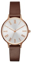 Merona Women's Slim Case Strap Small Watch with Roman Numeral Dial Rose Gold/Brown