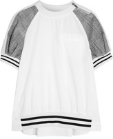Sacai Cotton And Laser-cut Prince Of Wales Checked Jacquard T-shirt - White