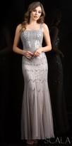 Scala Embellished Mock Sweetheart Trumpet Evening Dress