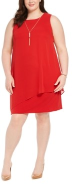 JM Collection Plus Size Asymmetrical-Overlay Necklace Dress, Created for Macy's
