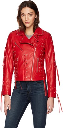 Bagatelle Women's Faux Leather Biker Jacket with Lacing Detail