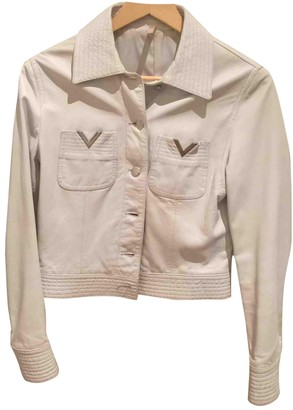 Valentino Red White Leather Leather Jacket for Women