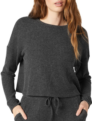 Beyond Yoga Waffle-Knit Cropped Pullover