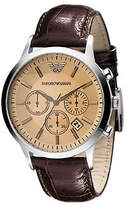 Emporio Armani Mens's Large Round Amber Dial with Chronograph