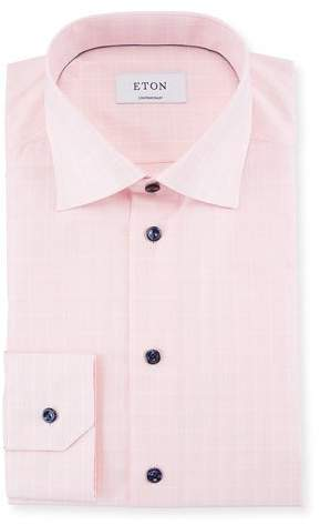 Eton Contrast-Button Plaid Dress Shirt
