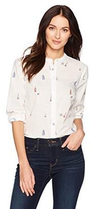 Nautica Women's Long Sleeve Printed Button Down Shirt