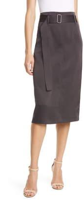 Judith & Charles Bella Belted Satin Pencil Skirt