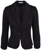 SODIAL(R) New Womens Color Blazer Jacket Suit Work Casual Basic Long Sleeve Candy Button