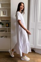 Thumbnail for your product : Nasty Gal Womens Flowy Tiered Midi T-Shirt Dress - White - S