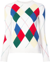 Thom Browne Classic Crewneck Pullover With Argyle Intarsia In Cashmere