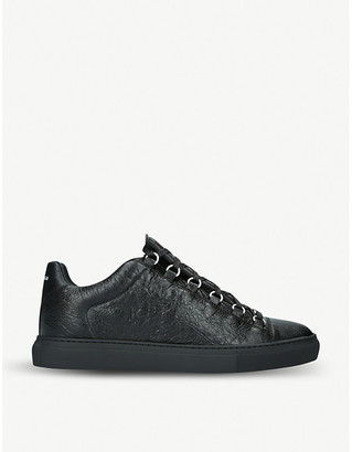 Balenciaga Mens Black Arena Leather Sneakers