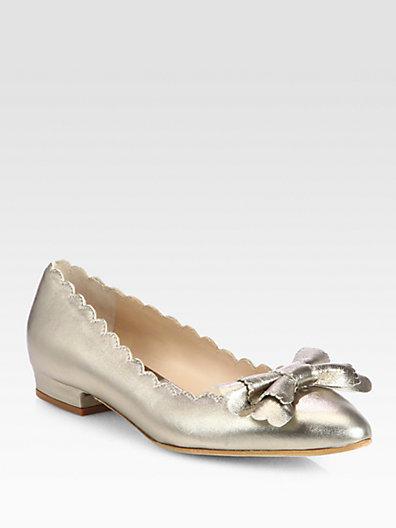 Oscar de la Renta Scalloped Metallic Leather Ballet Flats