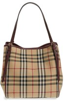 Burberry 'Small Canter' Horseferry Check & Leather Tote - Beige