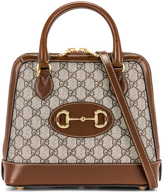 Gucci 1955 Horsebit Top Handle Bag in Beige Ebony & Brown Sugar | FWRD