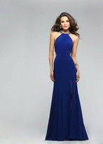 Faviana Bejeweled High Halter Evening Gown with Side Cut-outs 7543