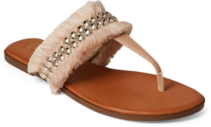 Jessica Simpson Natural Crespo Studded Fringe Thong Sandals
