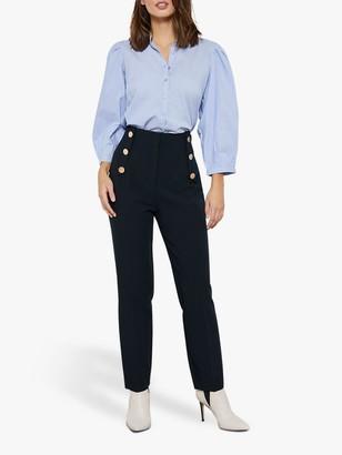 Mint Velvet Button Detail High Waist Cigarette Trousers, Navy