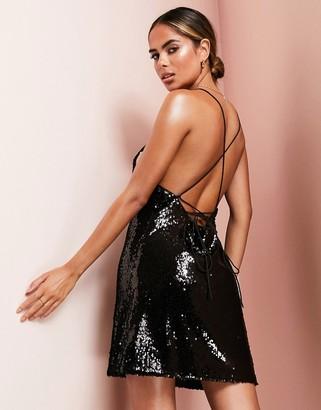 Asos Design ASOS LUXE cowl neck all over sequin mini cami dress