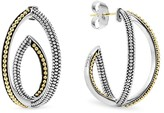 Lagos Sterling Silver and 18K Gold Caviar Bead Hoop Earrings