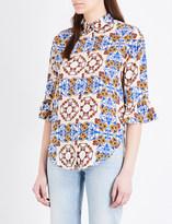 Sandro Floral-print silk-crepe de chine shirt