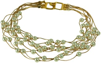 Kenneth Jay Lane 9 ROW GOLD CHAIN & PEARL LAYERED NECKLACE. LENGTH: