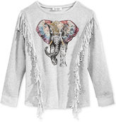 Jessica Simpson Graphic Fringed Sweater, Big Girls (7-16)