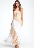 Bebe Colorblock Strapless Maxi Dress