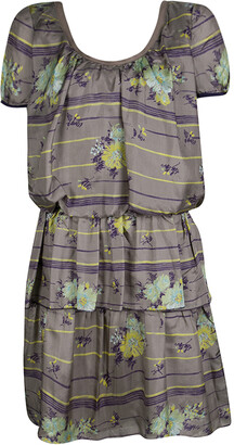 Philosophy di Alberta Ferretti Grey Floral Printed Silk Tiered Dress S