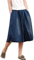 ACE SHOCK Women's Elastic Waist Relaxed Denim Jeans Long Bud Skirts Plus Size