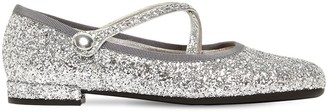 Miu Miu 10mm Glittered Mary Jane Flats