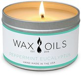 Wax and Oils Soy Wax Aromatherapy Scented Candles, Peppermint Eucalyptus, 8 oz