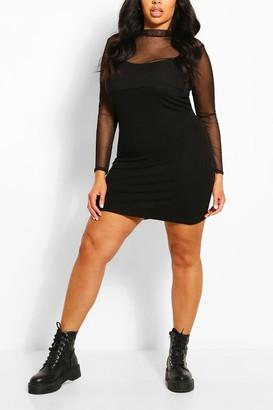 boohoo Plus Mesh Top 2 in 1 Slip Dress
