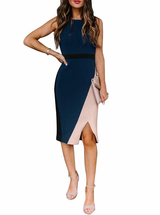 Moyabo Chic Vintage Sleeveless Round Neck Color Block Business Office Work Pencil Sheath Dress Navy Blue XX-Large