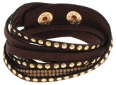Women's Bracelet Multi Strand Faux Leather Snap Bracelet with Stone & Metal - Brown