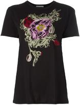 Alexander McQueen floral embroidered T-shirt - women - Cotton - 40