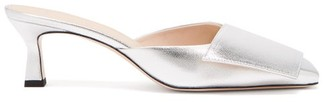 Wandler Isa Square-toe Metallic-leather Mules - Womens - Silver