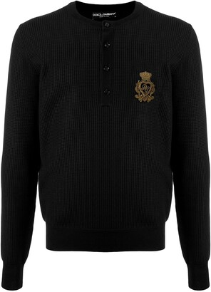 Dolce & Gabbana Logo Embroidery Buttoned Jumper