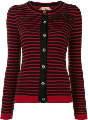 No.21 Striped Logo Patch Cardigan