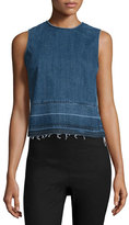 Theory Reli D Sleeveless Released-Hem Denim Top