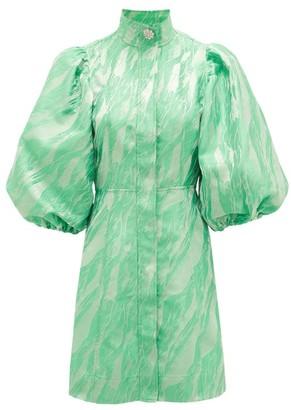 Ganni Crystal-button Puff-sleeve Satin-jacquard Dress - Green