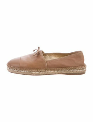 Prada Leather Bow Accents Espadrilles Brown
