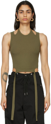 Dion Lee Green Halter Tie Tank Top