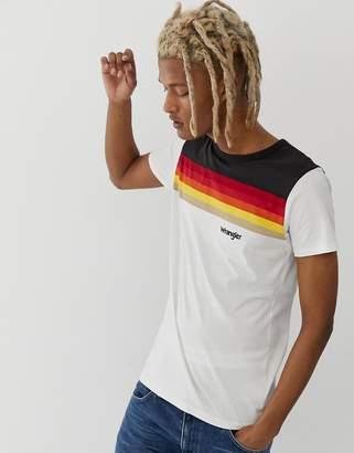 Wrangler cut & sew logo rainbow stripe crew neck t-shirt in offwhite