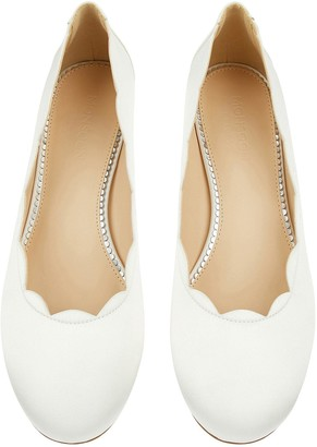 Monsoon Sasha Scallop Edge Bridal Shoes - Ivory