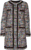 Moschino Grosgrain-trimmed Bouclé-tweed Coat - Black