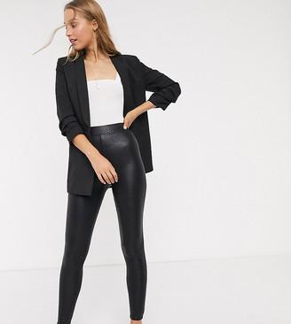 Asos Tall DESIGN Tall snake leather look legging-Black