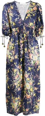 Zimmermann Zinnia Cobalt Floral shirred dress