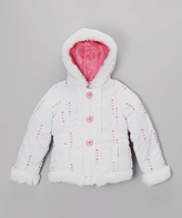 KC Collections White & Pink Heart Puffer Coat - Toddler