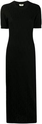 Fendi FF motif jacquard midi dress